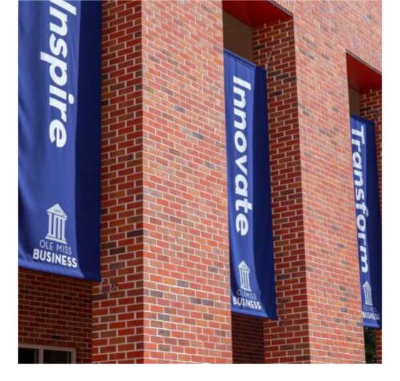 Banners on Business school building