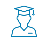 Line drawing of a graduate in cap and gown