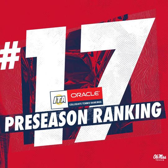 Text says Ole Miss Men's Tennis ranked preseason number 17.