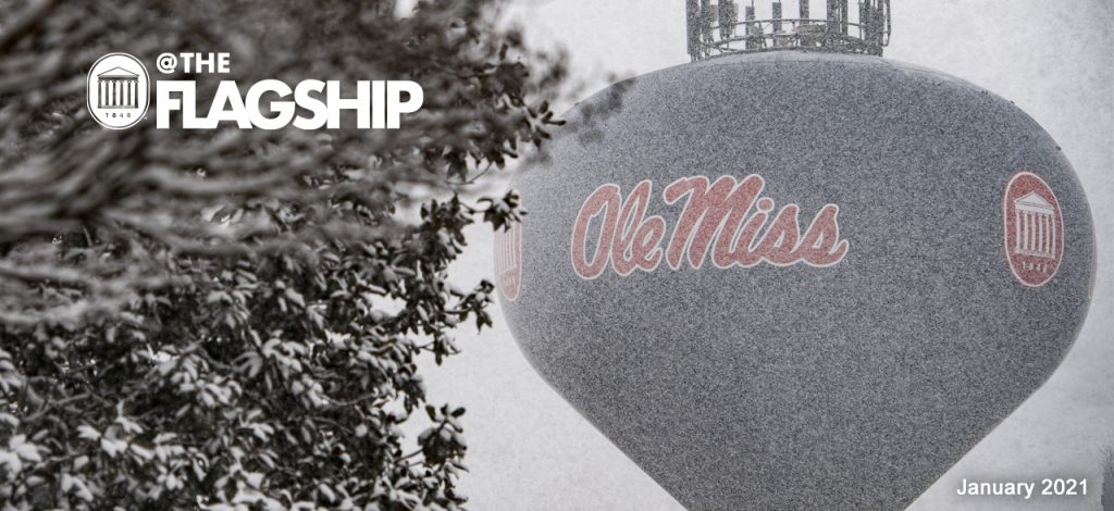 UM Crest @The Flagship, January 2021, Snow falls on campus, featuring the Ole Miss water tower