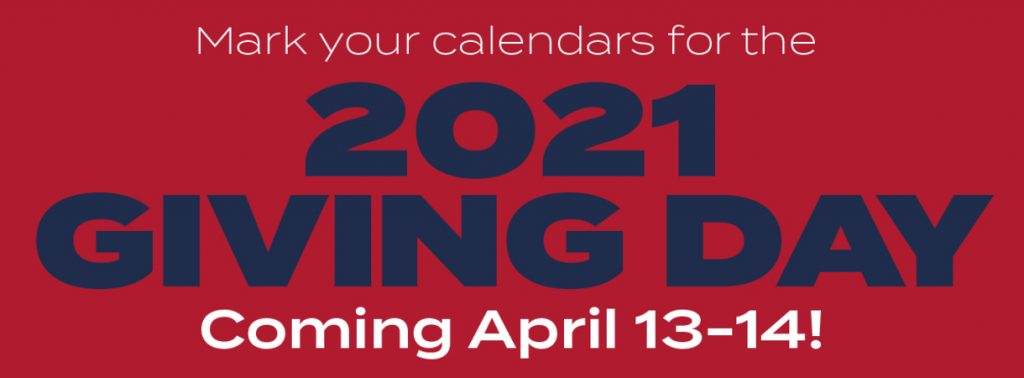 Text says Mark your calendars for the 2021 Giving Day Coming April 13-14! Link directs you to Give website.