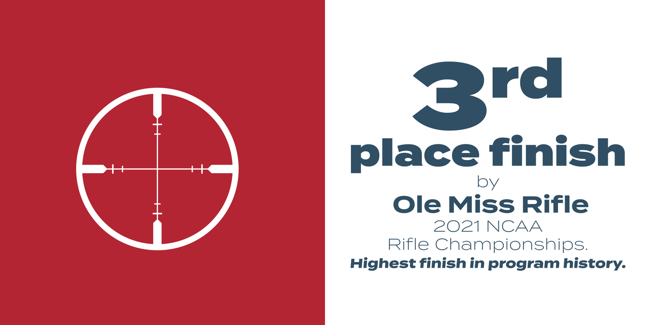 Line drawing of a shooting mark, text says 3rd place finish by Ole Miss Rifle 2021 NCAA Rifle Championships. Highest finish in program history.