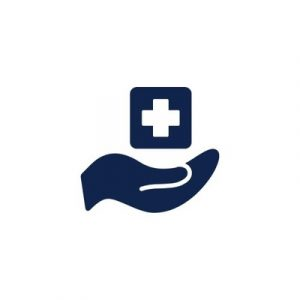 Line drawing of hand holding medical plus sign