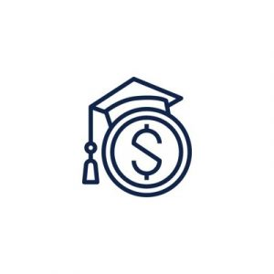 Line drawing of a dollar sign wearing a graduation cap