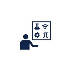 STEM icon with person and math and science symbols
