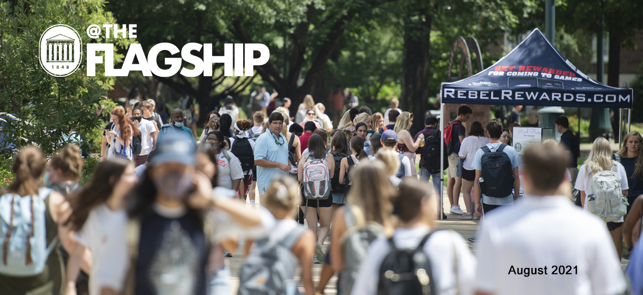 UM Crest, @The Flagship, August 2021, Students walk to class through the Grove during the first week of the 173rd academic year