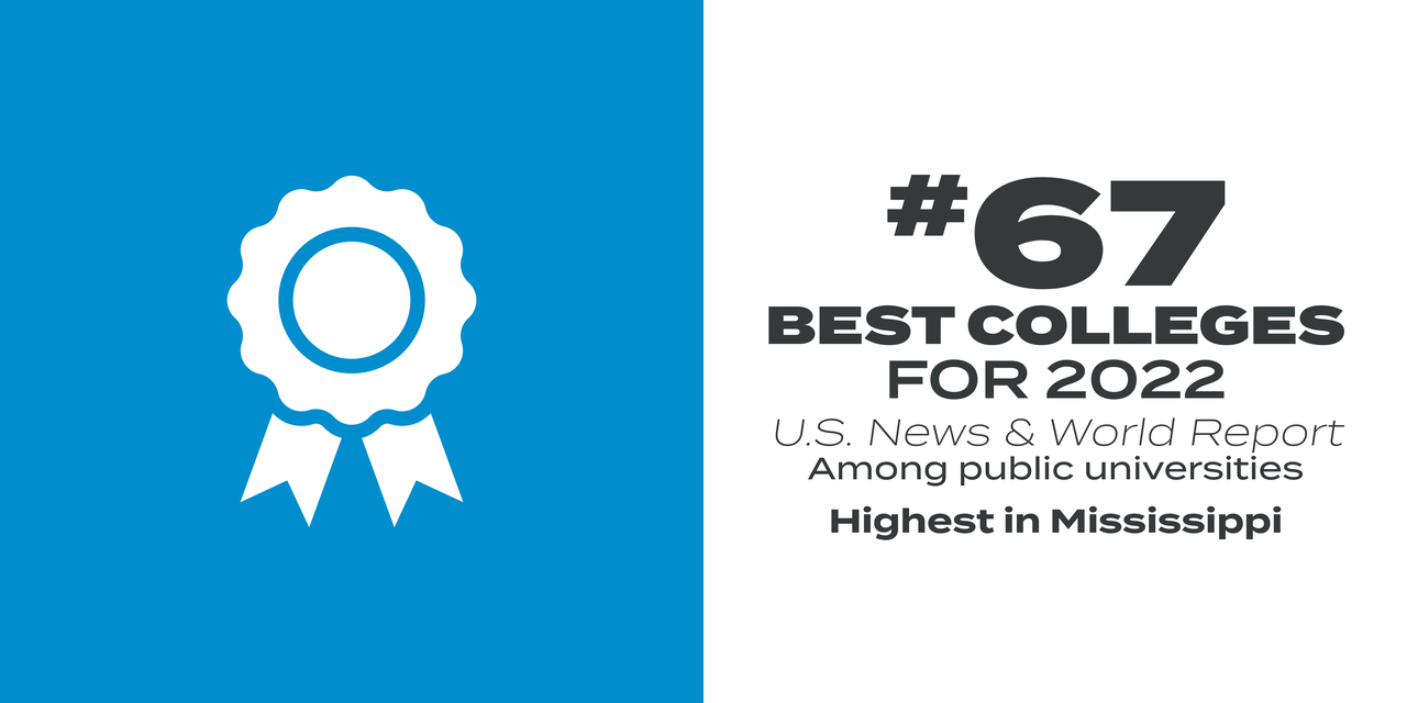 #67 Best Colleges for 2022, US News & World Report Among public universities / Highest in Mississippi